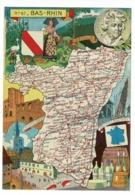 Carte Illustrée J P Pinchon - Blondel Rougery - Bas-Rhin, Blason, Texte Historique Au Verso - Pas Circulé, Mat - Landkarten