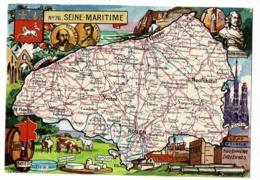Carte Illustrée J P Pinchon - Blondel Rougery - Seine Maritime, Blason, Texte Historique Au Verso - Pas Circulé, Brillan - Landkarten