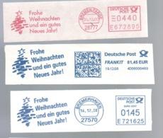 EMA FREISTEMPEL METER FRANKIT Joyeux Noel Season Greetings Christmas GERMANY LOT OF 3 DIFFERENT - Kerstmis
