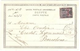 ALEXANDRIE Egypte Carte Postale Thèbes 10 C Sage Noir Sur Lilas Type III Yv 7 Surcharge Yv Ob 27 12 1902 Dest Barcelone - Alexandrie (1899-1931)