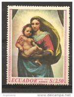 EQUADOR - RAFFAELLO Madonna Con Bambino, Madonna Sistina (Gemäldegalerie, Dresda) Nuovo** MNH - Madonne