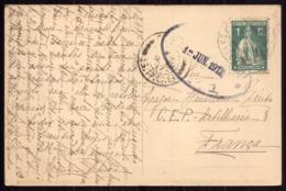 Casa Saude Cruz Vermelha LISBOA Enviado Para FRANÇA CEP Artilharia 8 Major Amilcar Pinto CENSURA WWI War Military Mail - Poststempel (Marcophilie)