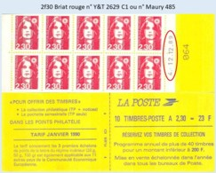 FRANCE - Carnet Date 4.12.12.89 - 2f30 Briat Rouge - YT 2629 C1 / Maury 485 - Usage Courant