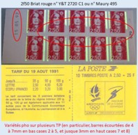 FRANCE - Carnet Date 15.05.92, Variétés Barres Pho - 2f50 Briat Rouge - YT 2720 C1 / Maury 495 - Usage Courant