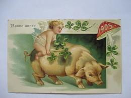 1905  -  BONNE ANNEE   -  ANGELOT SUR COCHON            GAUFFREE          TTB - New Year