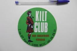"""Autocollant Stickers - Bar Discothèque Ecossais """"Le KILT CLUB"""" à METZ 57 MOSELLE - Autocollants"""