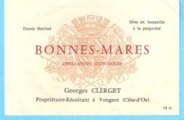 Etiquette-Vin De Bourgogne-Bonnes-Mares-Georges Clerget à Vougeot (Côte-D'Or) - Bourgogne