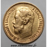 RUSSIE - Y 62 - 5 ROUBLES 1899 ФЗ - Saint-Pétersbourg - NICHOLAS II - OR - TTB - Rusia