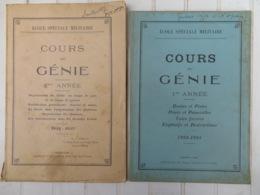 MANUEL MILITAIRE (ÉCOLE SAINT-CYR):) COURS DU GÉNIE (2 LIVRES) (1933-34-35) - Livres
