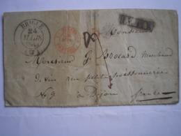 SUISSE - LSC De BRIGUE Du 24/03/1846 Pour Dijon Avec Cachet D'entrée Suisse Rouge Vaud/Pontarlier + 5 Rouge Et LV 12K - 1830-1849 (Unabhängiges Belgien)