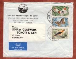 Luftpost, Illustrierter Umschlag Pharmazie, Aurorafalter U.a., Beirut Nach Mainz 1970 (80820) - Libanon
