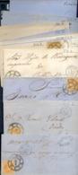 Año 1860 Edifil 52 4c Curiosa Coleccion De 31 Cartas,env,fro, De Los Diferentes Dias De Los Meses Rueda Carreta 1 Madrid - Oblitérés