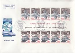 MONACO Block 39 FDC, EUROPA CEPT 1988, Transport- Und Kommunikationsmittel - Europa-CEPT