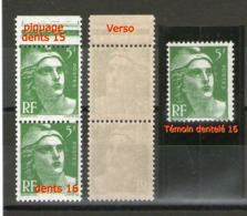 Variété Paire 719**_dentelé 16 Tenant Detelé 15 Sur Piquage - 1945-54 Marianne Of Gandon