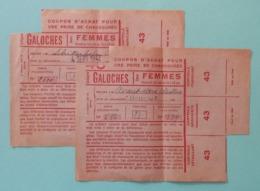 Deux Coupons D'achat Pour Chaussures - Détaillant Dénommé L. Bourdin Place Carnot à Chantonnay En Vendée - 1939-45