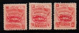 """N854.-. NICARAGUA - 1897. SC#:O105, O106, O109. MH - """"FRANQUEO OFICIAL"""" OVERPRINTED - Nicaragua"""