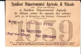 Syndicat Départemental Agricole & Viticole  Puy De Döme Et Syndicat Dep Agri De Défense Contre Les Ennemis Des Cultures - Mappe