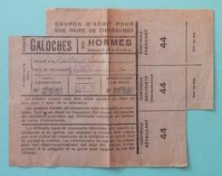 Coupon D'achat Pour Chaussures Ou Galoches - Commune Et Détaillant De Chantonnay En Vendée - 1939-45