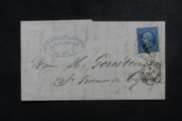 FRANCE - Lettre De Bordeaux Pour St Vincent De Tyrosse En 1863, Affranchissement Napoléon - L 44342 - Marcophilie (Lettres)