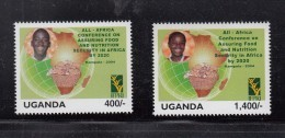 2004 Uganda Food And Nutrition Safety Children's Health Map Complete Set  Of 2 MNH - Oeganda (1962-...)