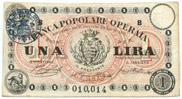 1 LIRA BIGLIETTO FIDUCIARIO BANCA POPOLARE OPERAIA DI ROMA 1872 QSPL - [ 1] …-1946 : Regno