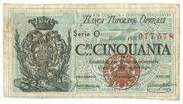 50 CENTESIMI BIGLIETTO FIDUCIARIO BANCA POPOLARE OPERAIA DI ROMA 1872 BB/BB+ - [ 1] …-1946 : Regno