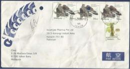 MALAYSIA POSTAL USED AIRMAIL COVER TO PAKISTAN BIRD BIRDS - Malaysia (1964-...)