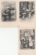 """3 CPA:PARIS (75) MARCHAND DE STATUETTES """"PETIT ITALIEN"""",MARCHAND DE MARRONS,LANDAU MARCHANDE DE FLEURS - Petits Métiers à Paris"""