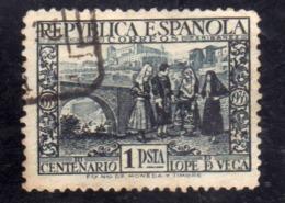 SPAIN ESPAÑA SPAGNA 1935 ALCANTARA  ALCAZAR TOLEDO PESETA 1p USED USATO OBLITERE' - 1931-50 Usados