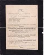 PERUWELZ Edmond-Gaspard PETIT 45 Ans 1904 Ancien Conseiller Communal Commission Hospices époux HERMANT LEVIE - Avvisi Di Necrologio