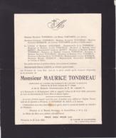 PERUWELZ BEAUMONT Maurice TONDREAU 1847-1929 Président Fabrique D'Eglise Famille FORTAMPS ROSSEUW - Avvisi Di Necrologio