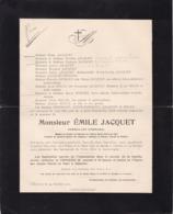 FOSSES CHATELET Emile JACQUET Conseiller Communal 1845-1910 Famille LEVIE HERMANT Fabrique D'église - Avvisi Di Necrologio