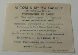 Carte Visite Mr TOM Yve Caroff Music Hall Paris Danse Casino De Crotoy Vintage - Cartes De Visite