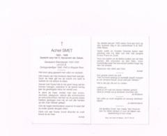 Achiel Smet.Gewapend Weerstander.Oorlogsvrijwilliger 1940-45 (Brigade Piron) - Avvisi Di Necrologio