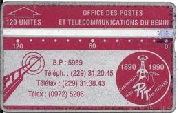 CARTE MAGNETIQUE-BENIN-120U-ROUGE/GRENAT-V° N° En Bas A Droite Inversé-211A02853-UTILISE-BE-RARE - Benin