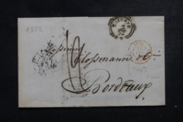 AUTRICHE - Lettre De Trieste Pour La France En 1852 , Cachet D'entrée En Rouge De Valenciennes - L 44363 - Covers & Documents