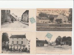 4 CPA:MONTIGNY SUR AUBE (21) PLACE DU CHÂTEAU,ROUTE DE RIEL,CAFÉ DE LA PLACE,CHEVAUX GENDARMERIE..ÉCRITES - Francia