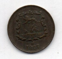 BRITISH INDIA - BRITISH NORTH BORNEO, 1/2 Cent, Bronze, 1887, KM #1 - India