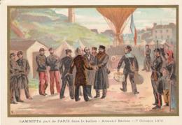 Gambetta Ballon Armand Barbes  Belle Image De 1894-1895 Illustration Germain - Army & War
