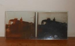 Plaque De Verre Stéréoscopique. Locomotive En Réparation. - Glass Slides