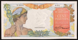 FRENCH INDO-CHINA 100 Piastres 1949-54 Pick#82b Lao Type  AUNC Sup/unc Holes Fori Lotto.2933 - Indochina