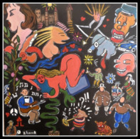 "ZHORRK ART BRUT   "" IPEACE AND LOVE  "" - Acryliques"