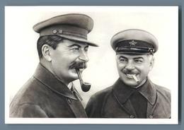 STALIN Smoking Pipe And Marshall Voroshilov Propaganda Russian Unposted Postcard - Politica