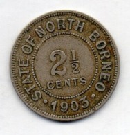 BRITISH INDIA - STATE OF NORTH BORNEO, 2 1/2 Cents, Copper-Nickel, 1903, KM #4 - India