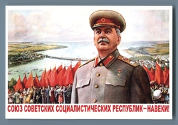 STALIN USSR Repulics Forever Ref Flag Prpaganda Russian Unposted Postcard - Politica