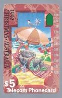 AU.- Telecom Phonecard $5. CHRISTMAS AUSTRALIA 1992. N920622.- 0000023045612. STRAND. PARASOL.RADIO. MEEUW. - Natale