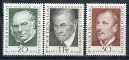 LIECHTENSTEIN 1968 503-505 Pioneers Of The Philately. Sir Rowland Hill (1795-1879) Philip Von Ferrari (1848-1917) Mauric - Rowland Hill