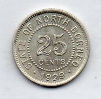BRITISH INDIA - STATE OF NORTH BORNEO, 25 Cents, Silver, 1929, KM #6 - India