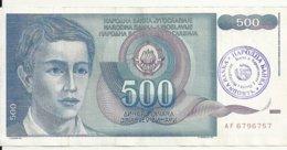 BOSNIE-HERZEGOVINE 500 DINARA ND1992 VF P 1 B - Bosnia And Herzegovina