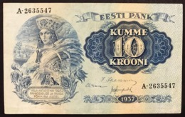 EESTI PANK Estonia 10 KUMME KROONI 1937 Vf+ Bb+  Lotto 2934 - Estonia
